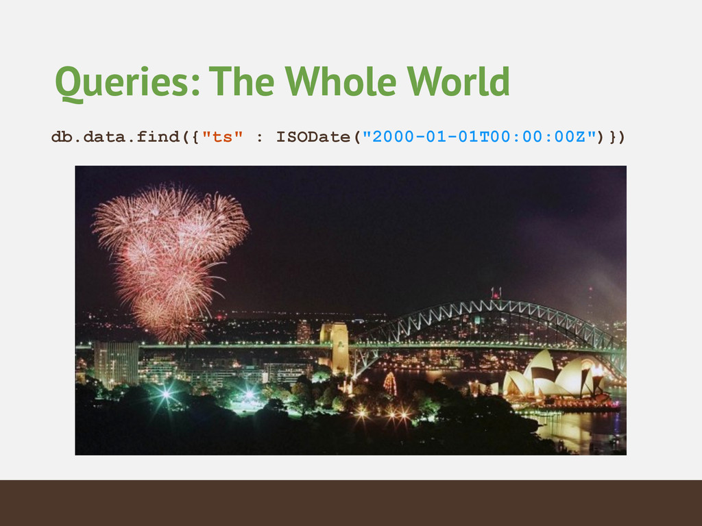 """Queries: The Whole World db.data.find({""""ts"""" : I..."""