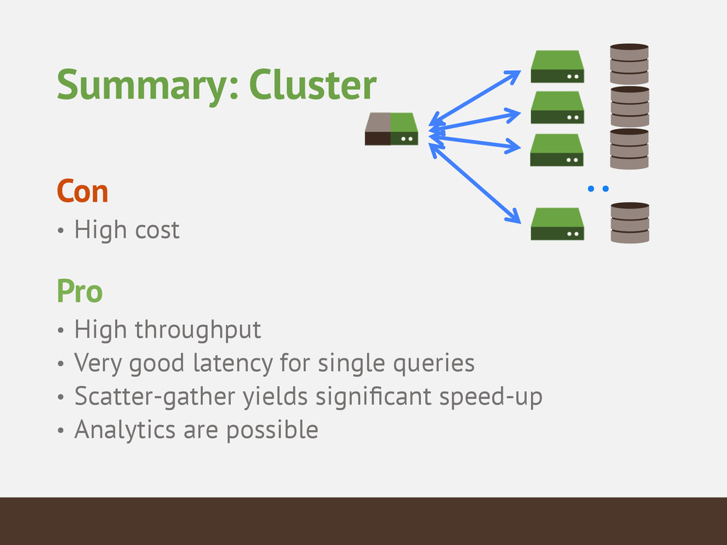 Summary: Cluster ! Con • High cost ! Pro • High...