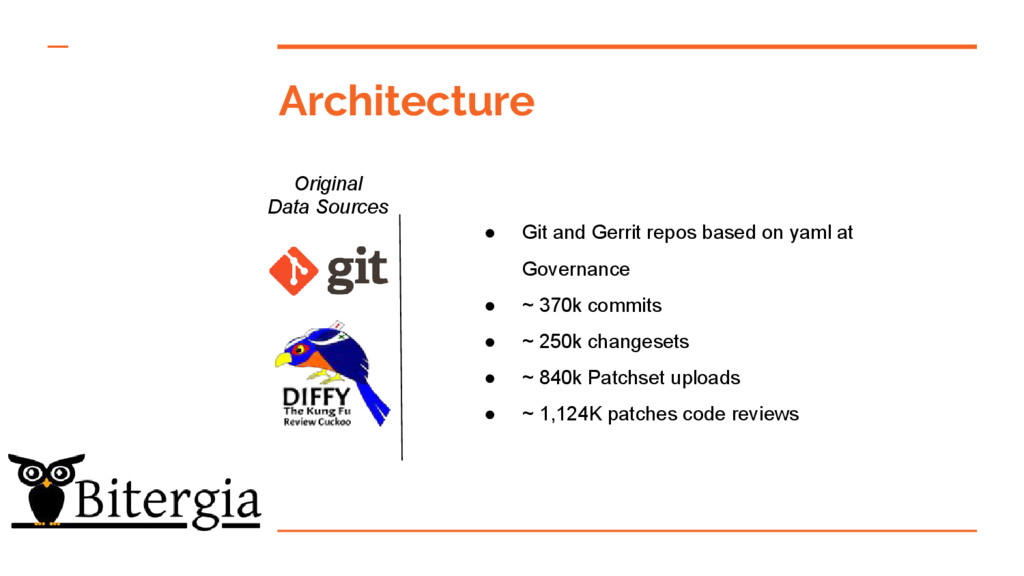 Architecture Original Data Sources ● Git and Ge...