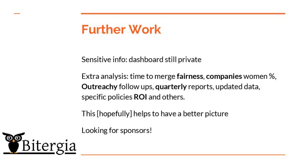 Further Work Sensitive info: dashboard still pr...