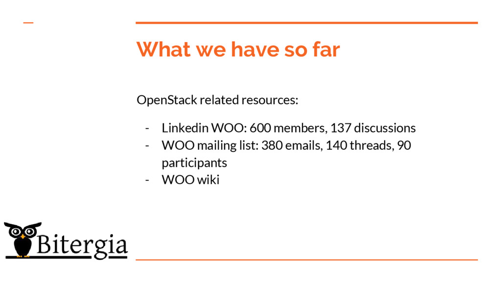 What we have so far OpenStack related resources...