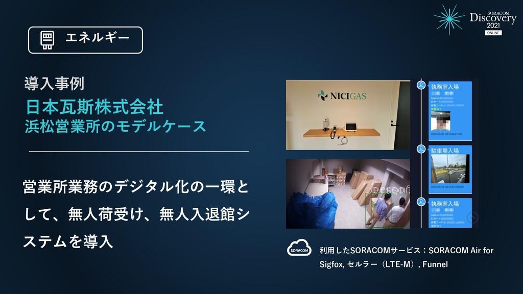 日本瓦斯株式会社 浜松営業所のモデルケース 営業所業務のデジタル化の一環と して、無人荷受け、...