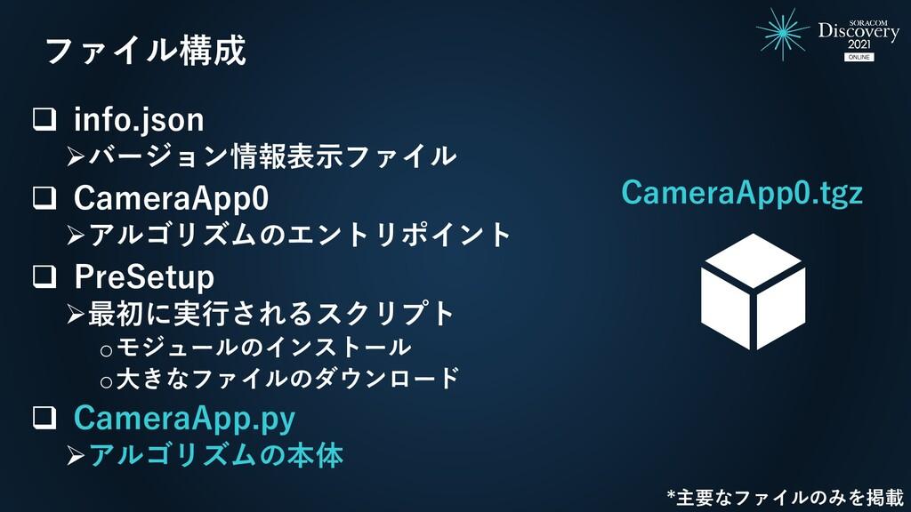❑ info.json ➢バージョン情報表示ファイル ❑ CameraApp0 ➢アルゴリズム...