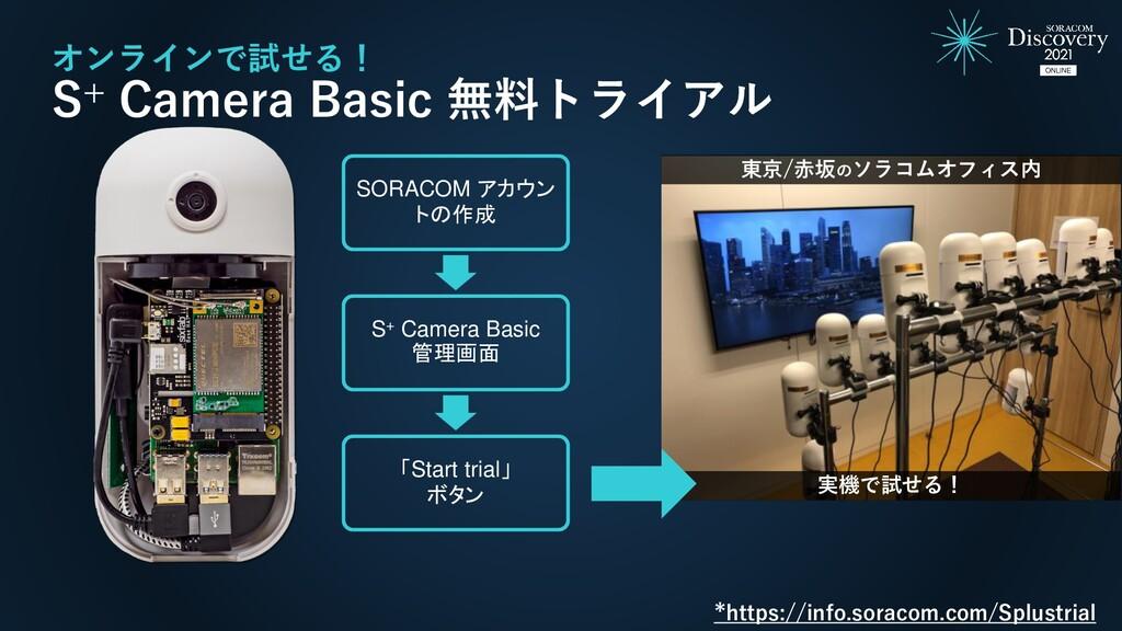 オンラインで試せる! S+ Camera Basic 無料トライアル SORACOM アカウン...