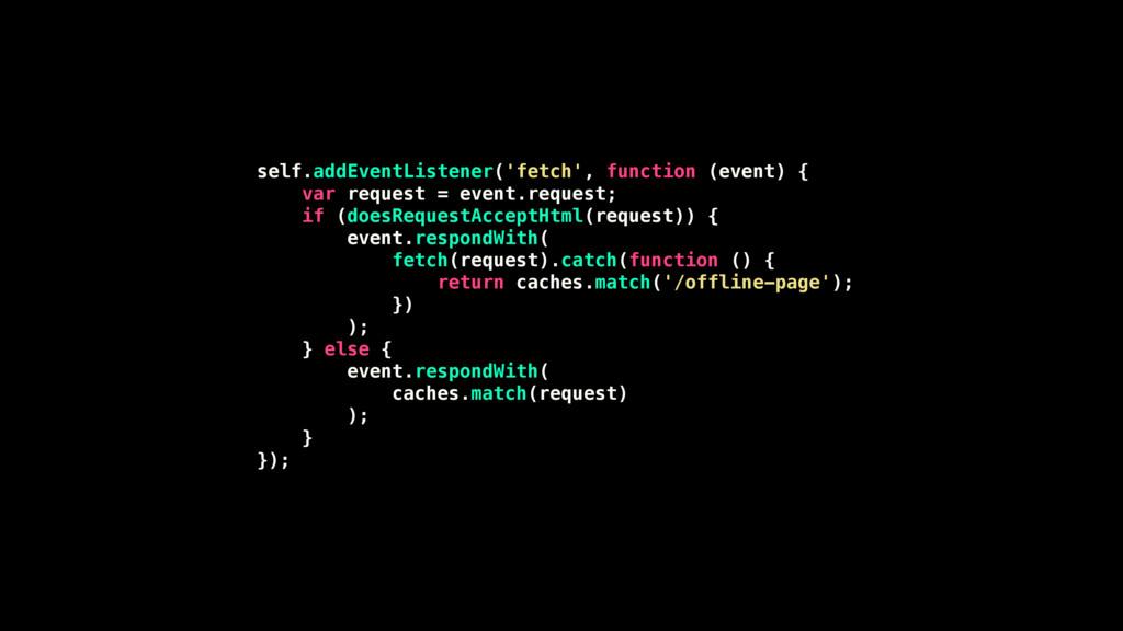 self.addEventListener('fetch', function (event)...