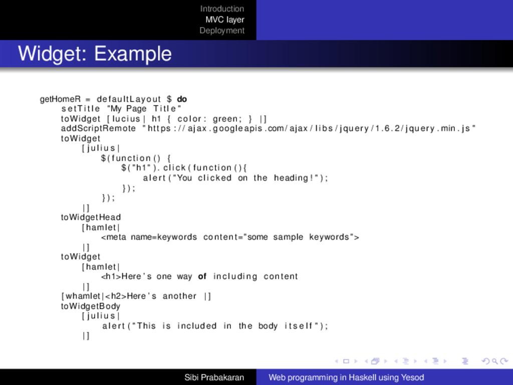 Introduction MVC layer Deployment Widget: Examp...