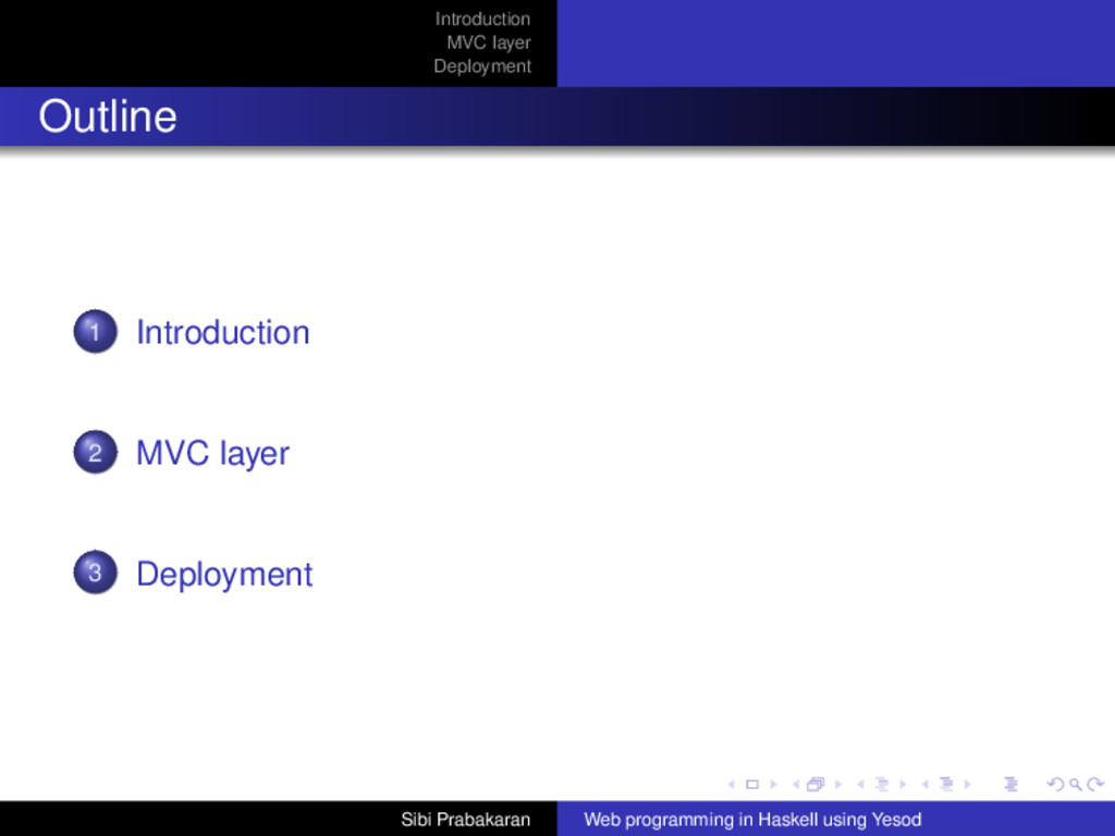 Introduction MVC layer Deployment Outline 1 Int...