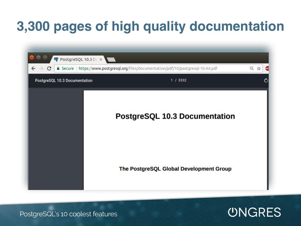 3,300 pages of high quality documentation Postg...