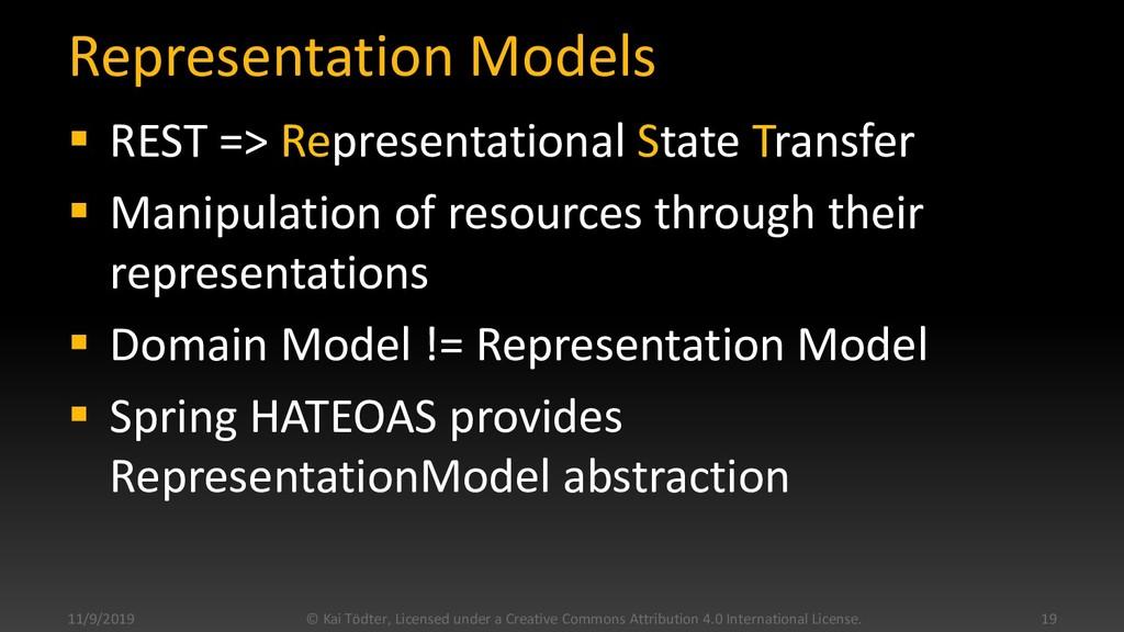 Representation Models  REST => Representationa...