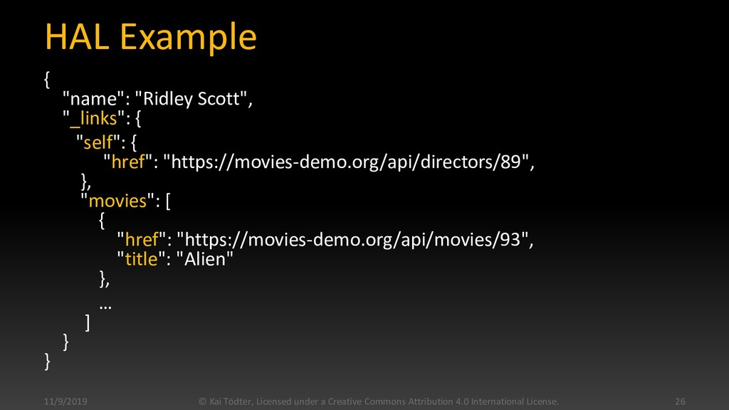 """HAL Example { """"name"""": """"Ridley Scott"""", """"_links"""":..."""
