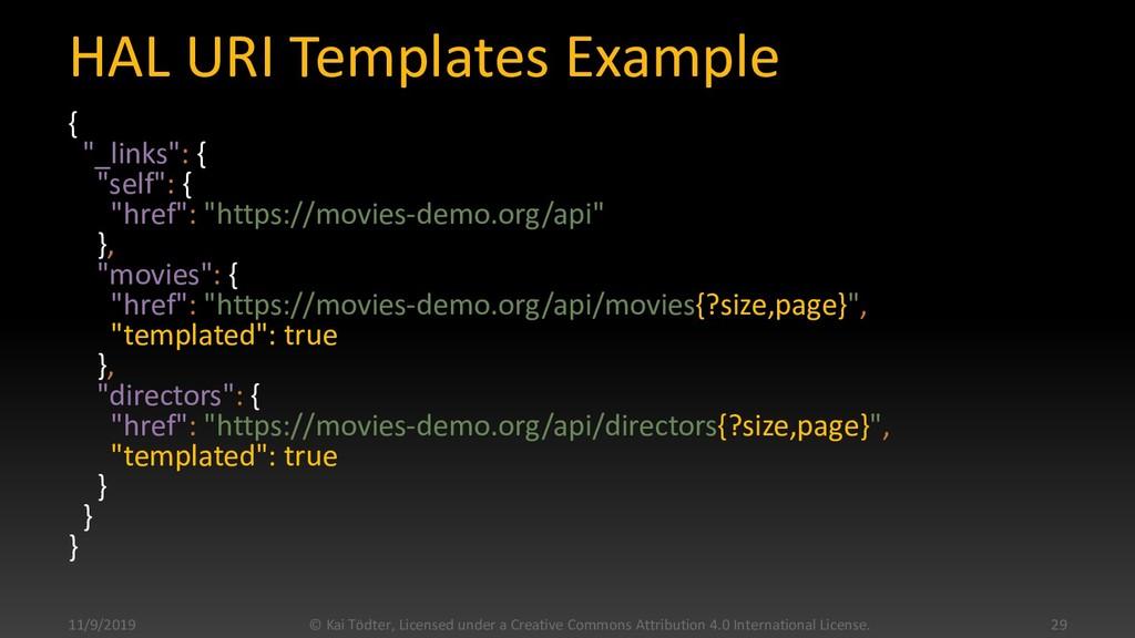 "HAL URI Templates Example { ""_links"": { ""self"":..."