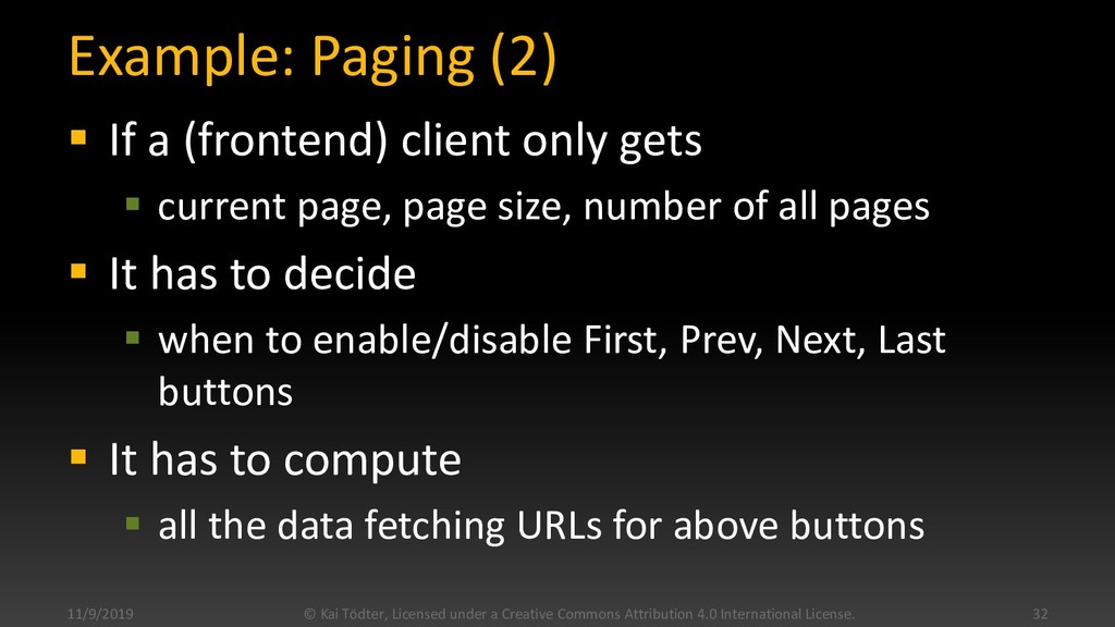Example: Paging (2)  If a (frontend) client on...