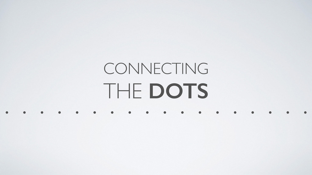 CONNECTING THE DOTS . . . . . . . . . . . . . ...