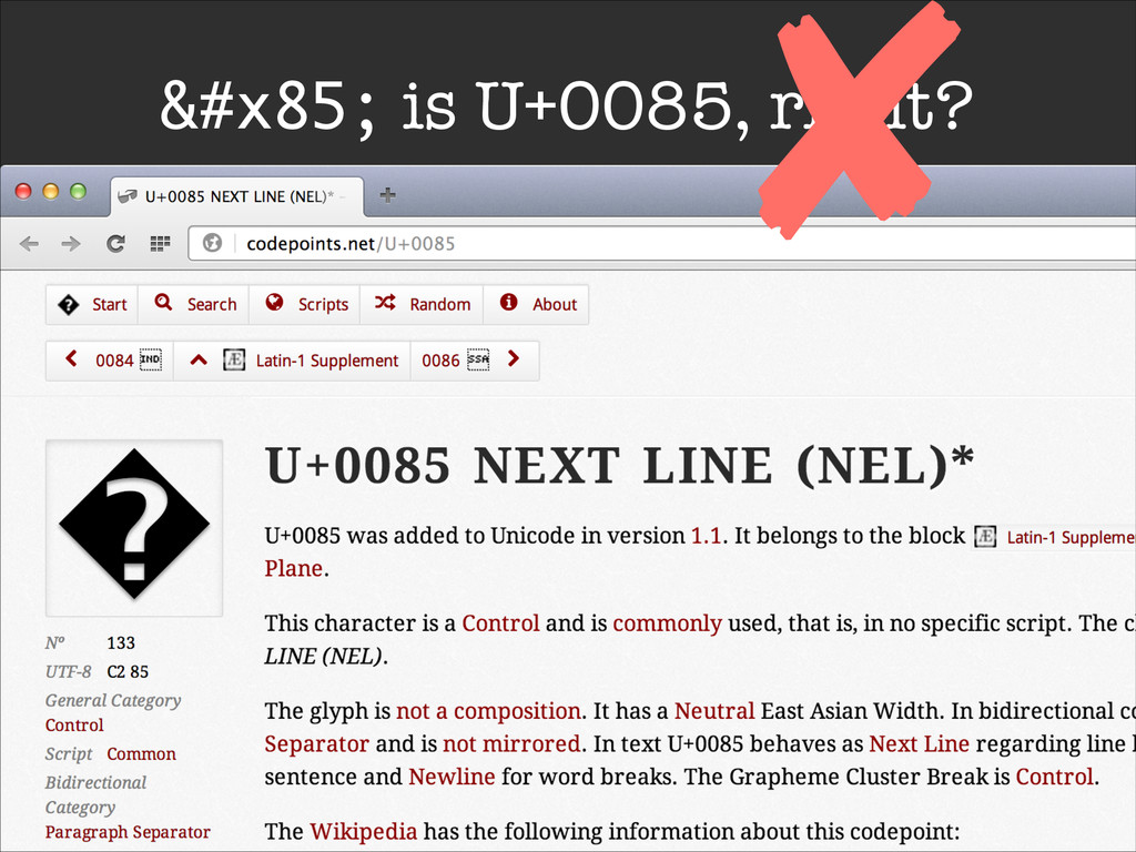 … is U+0085, right? ✘