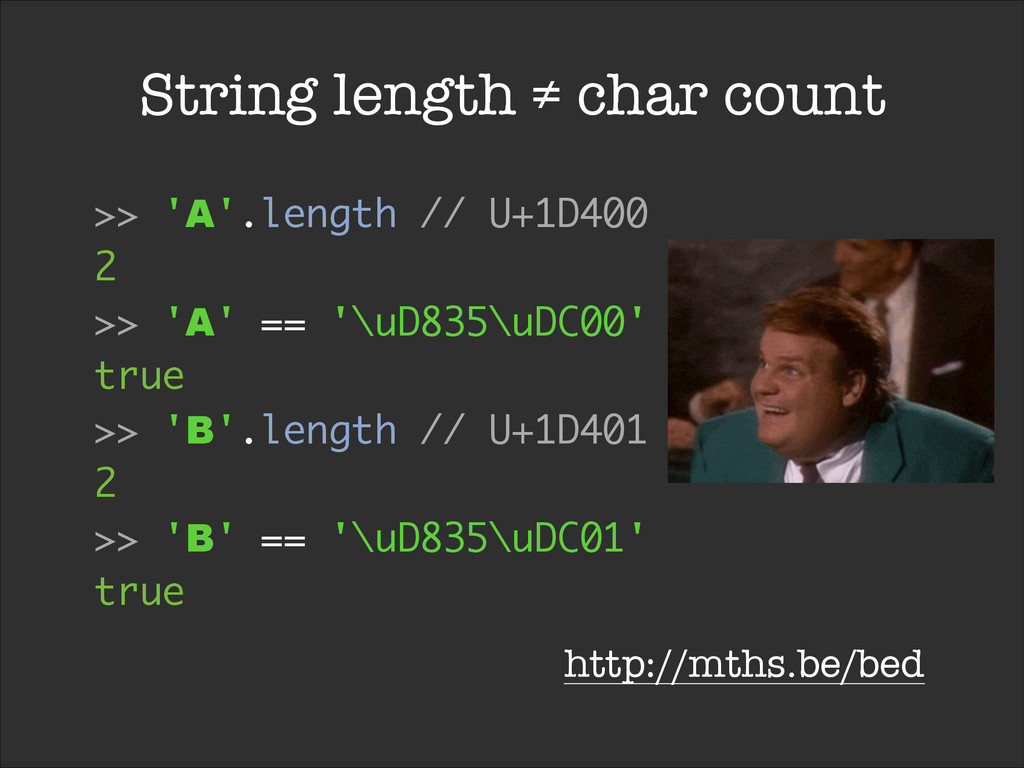 String length ≠ char count >> 'A'.length // U+1...