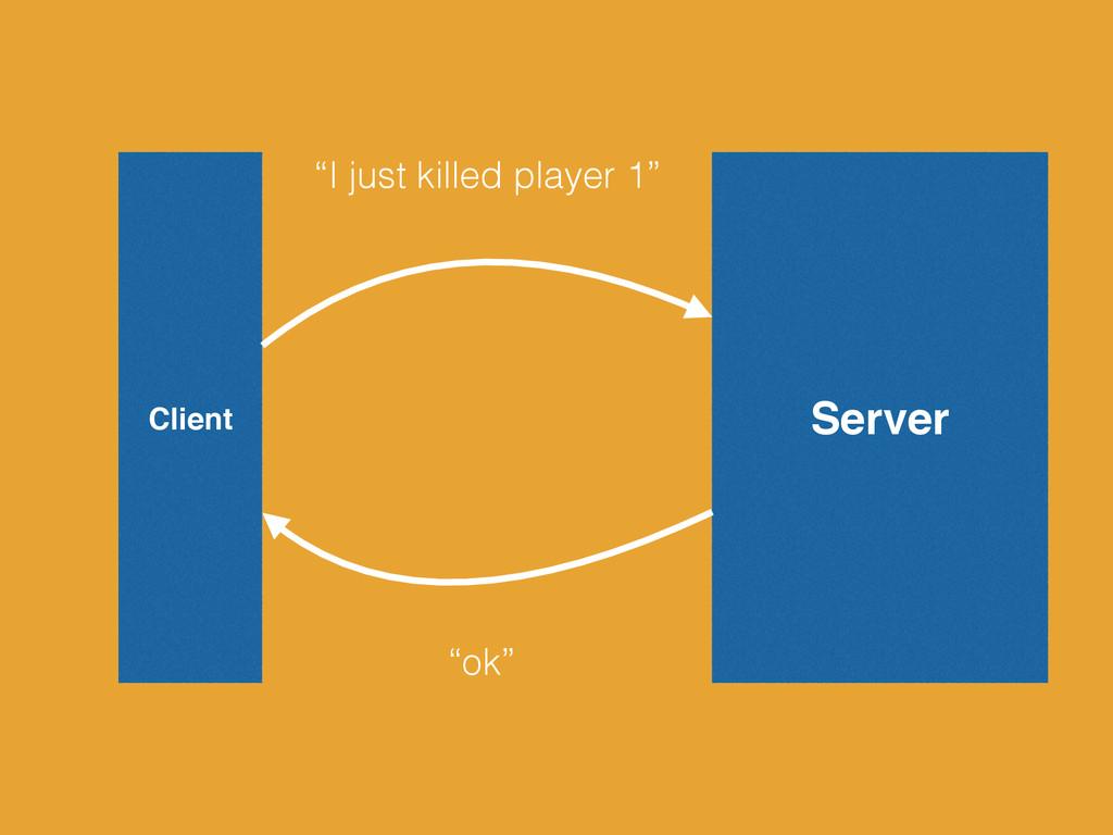 "Server Client ""I just killed player 1"" ""ok"""
