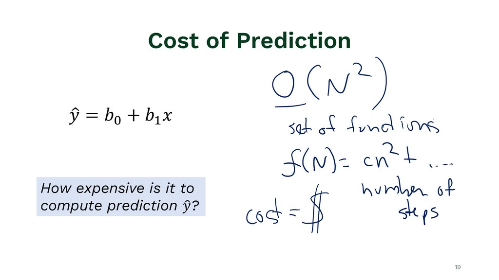 """Cost of Prediction 19 ! """" = $% + $' ( How expen..."""