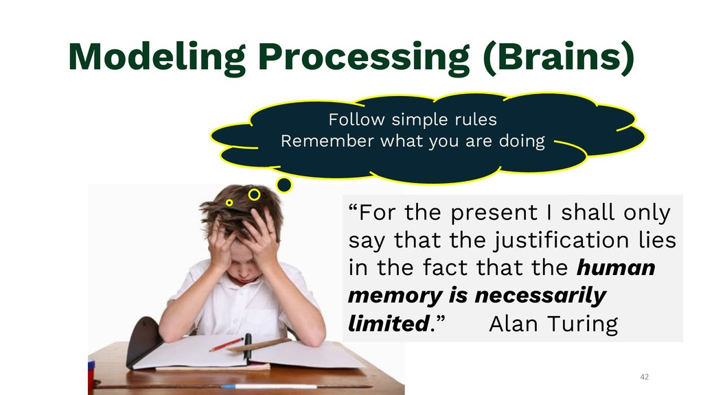 Modeling Processing (Brains) Follow simple rule...