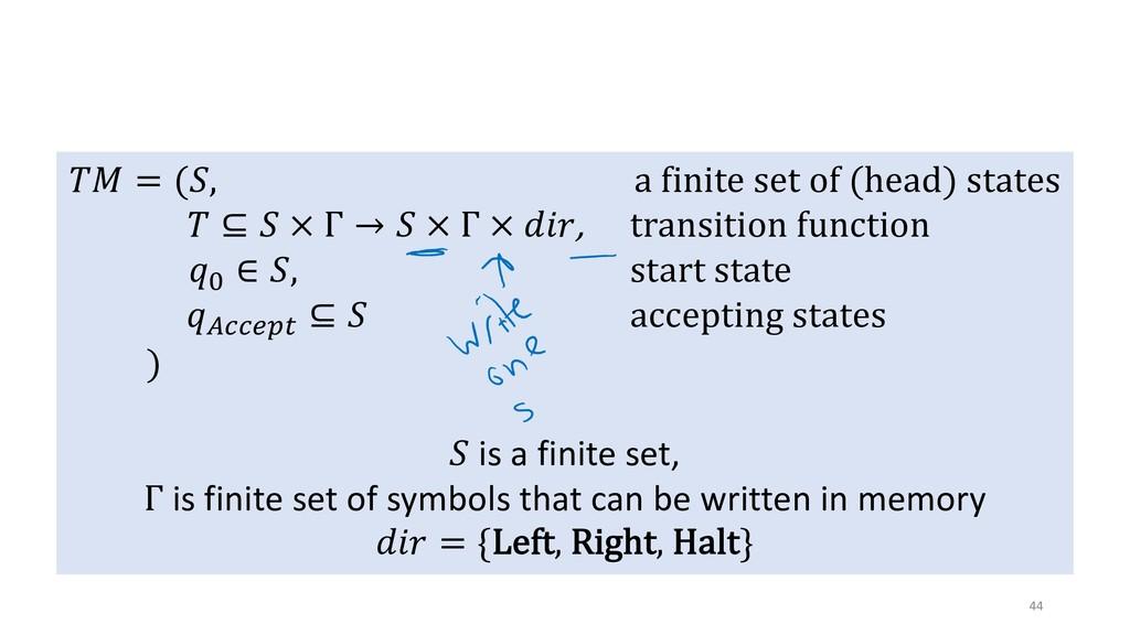 "Turing's Model 44 !"" = (%, a finite set of (hea..."
