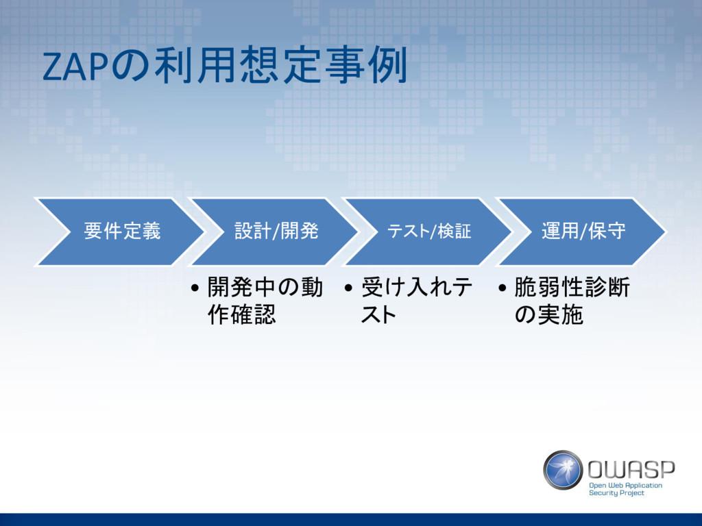 ZAPの利用想定事例 要件定義 設計/開発 • 開発中の動 作確認 テスト/検証 • 受け入れ...