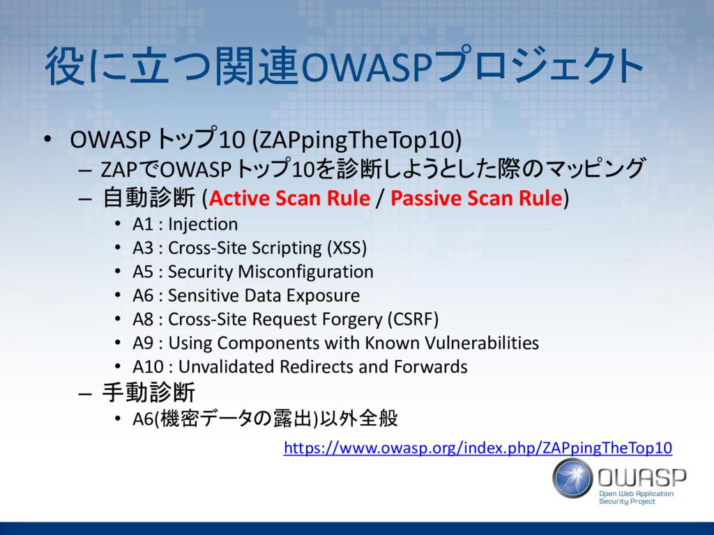 役に立つ関連OWASPプロジェクト • OWASP トップ10 (ZAPpingTheTop1...