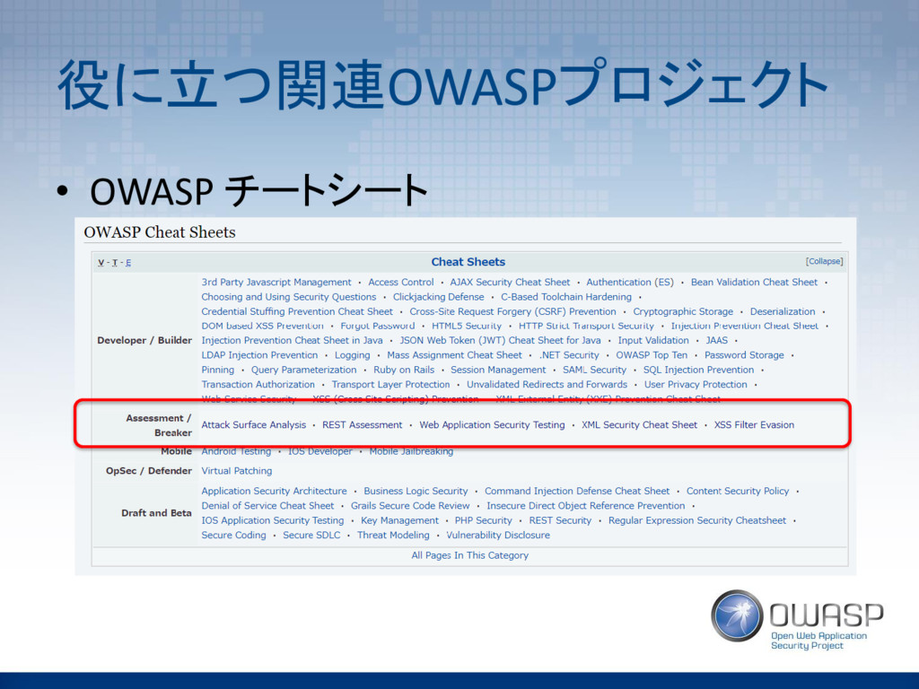 役に立つ関連OWASPプロジェクト • OWASP チートシート