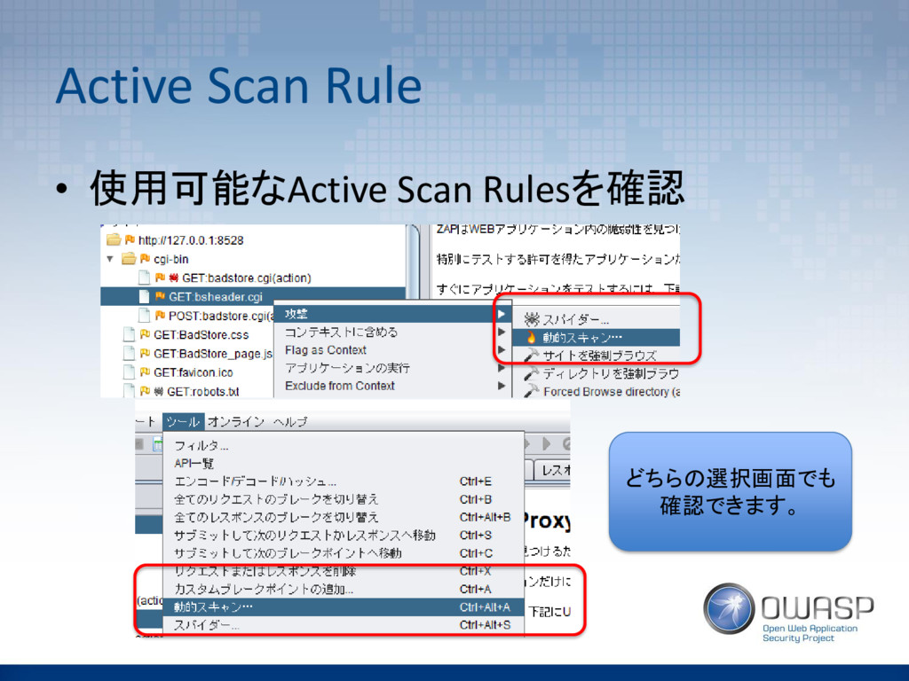Active Scan Rule • 使用可能なActive Scan Rulesを確認 どち...