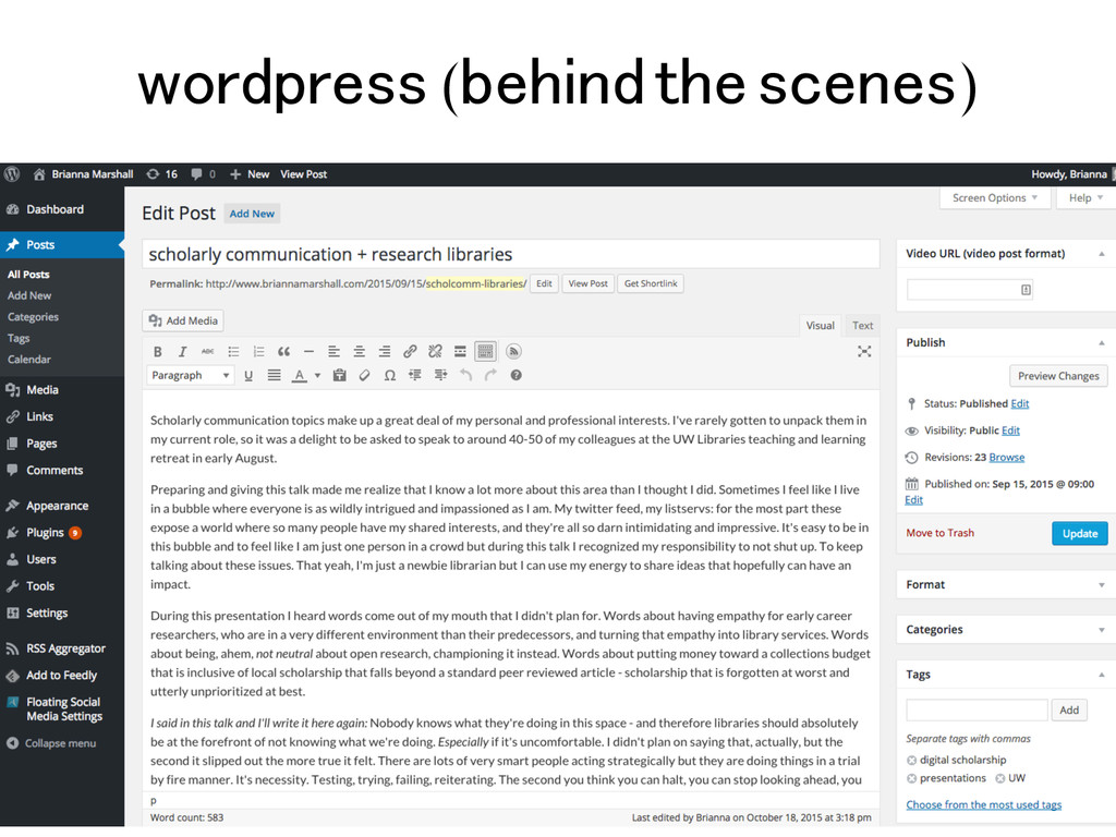 wordpress (behind the scenes)!