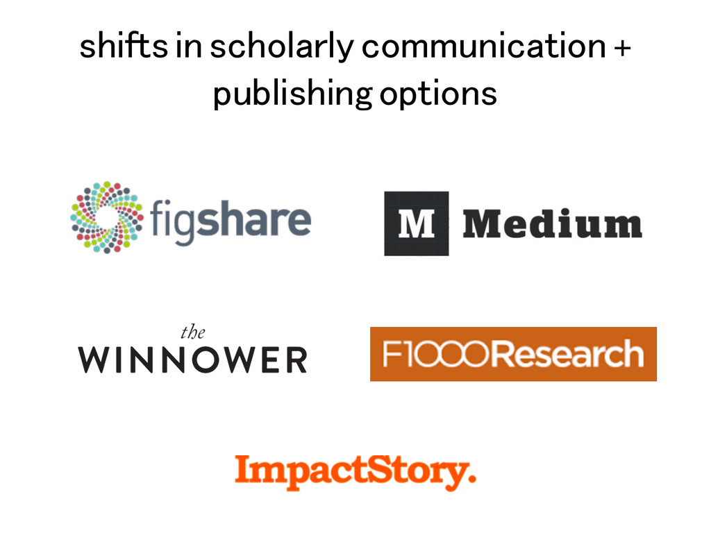 shifts in scholarly communication + publishing ...