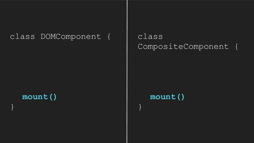 class DOMComponent { mount() } class CompositeC...