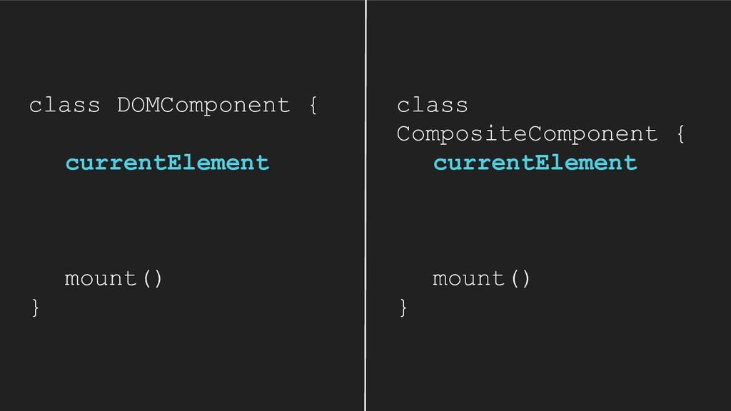 class DOMComponent { currentElement mount() } c...