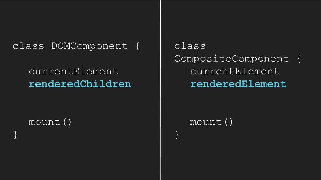 class DOMComponent { currentElement renderedChi...