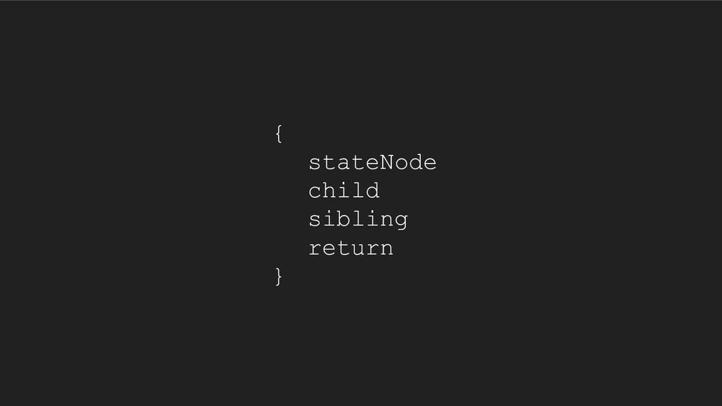 { stateNode child sibling return }