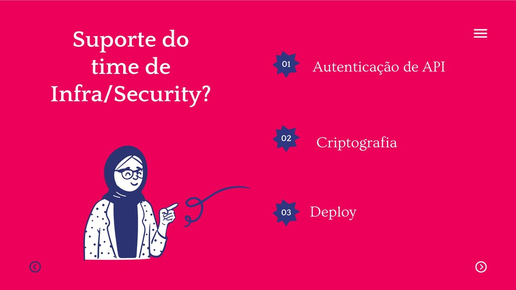 01 02 03 Suporte do time de Infra/Security? Aut...