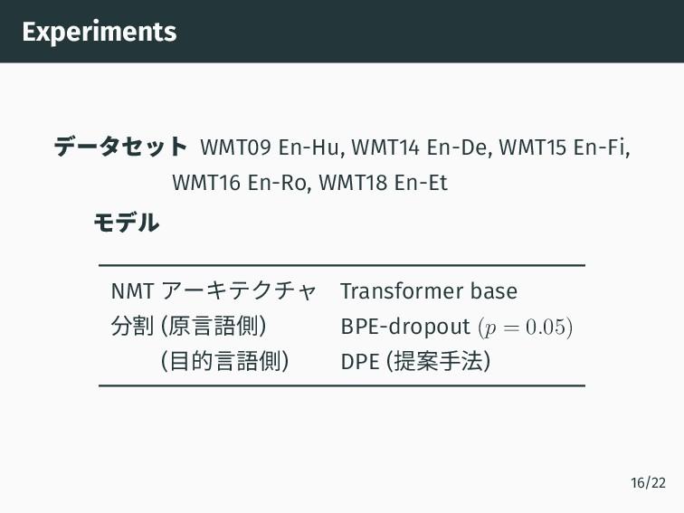 Experiments データセット WMT09 En-Hu, WMT14 En-De, WM...