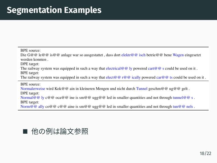 Segmentation Examples 他の例は論文参照 18/22