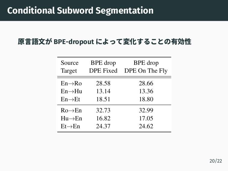 Conditional Subword Segmentation 原言語文が BPE-drop...
