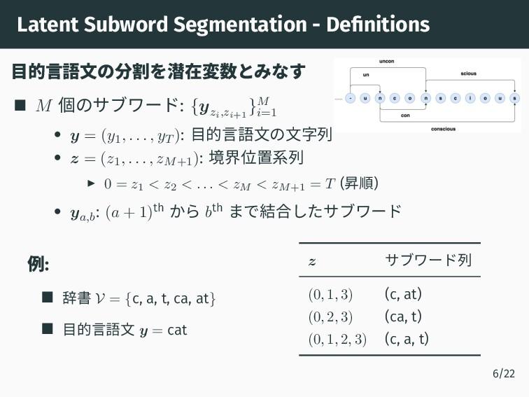 Latent Subword Segmentation - Definitions 目的言語文...