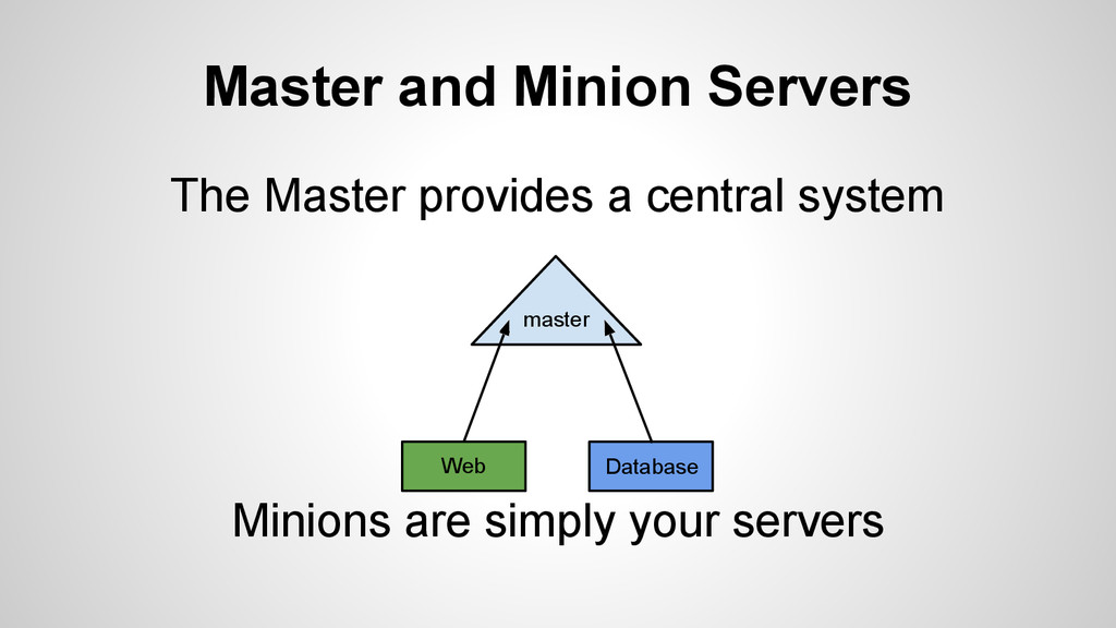 Master and Minion Servers The Master provides a...