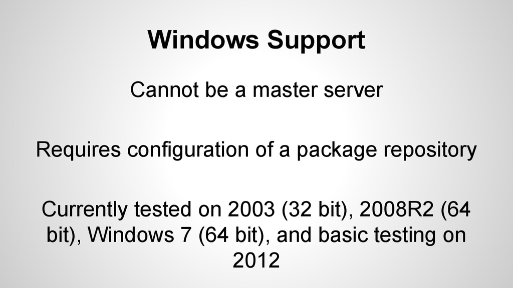 Windows Support Cannot be a master server Requi...