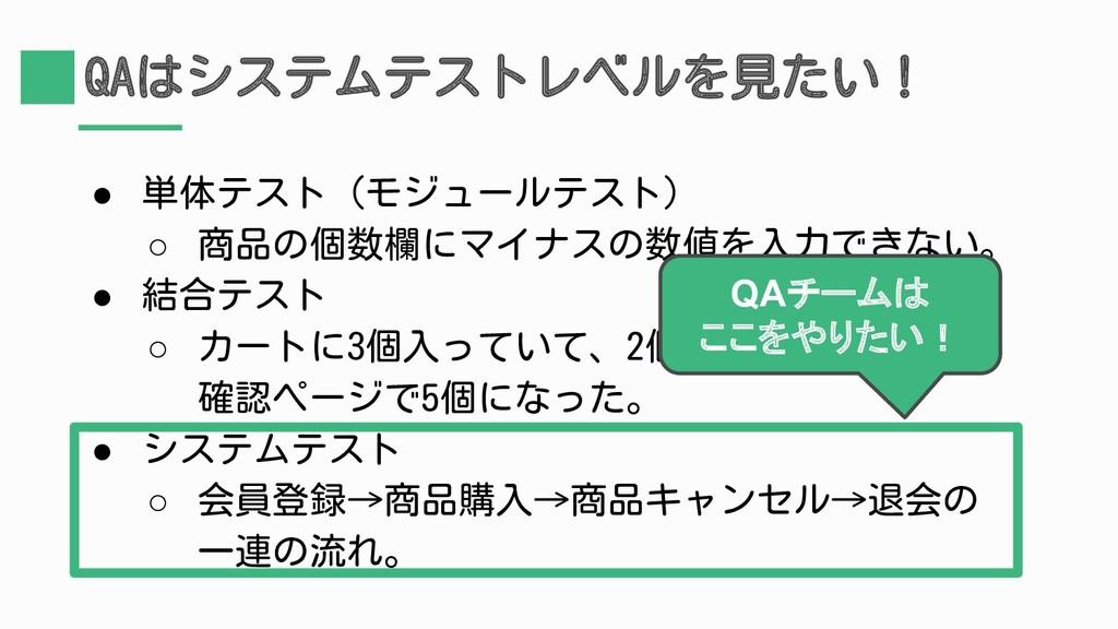 QAはシステムテストレベルを見たい! ● 単体テスト(モジュールテスト) ○ 商品の個数欄にマ...