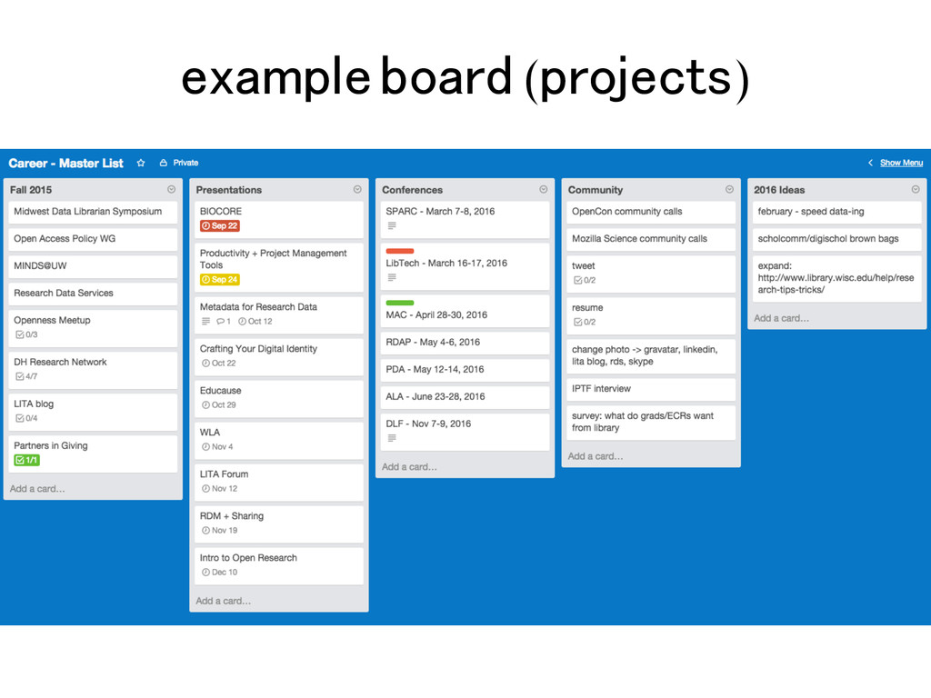 example board (projects)!