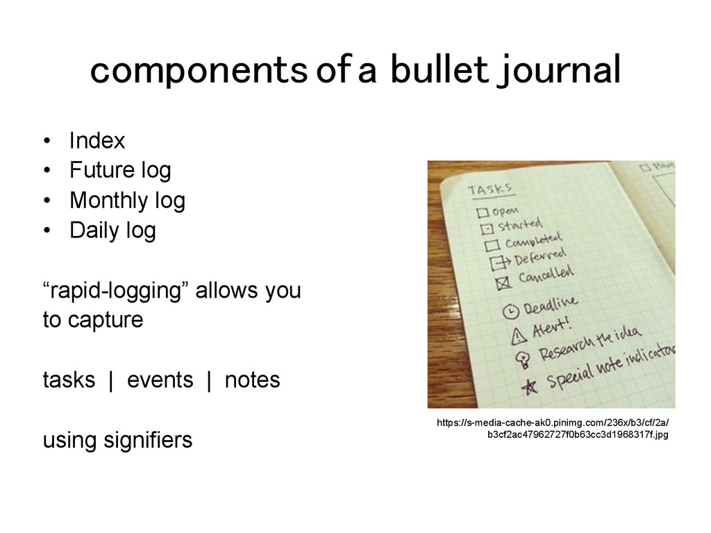 components of a bullet journal! •  Index •  Fut...