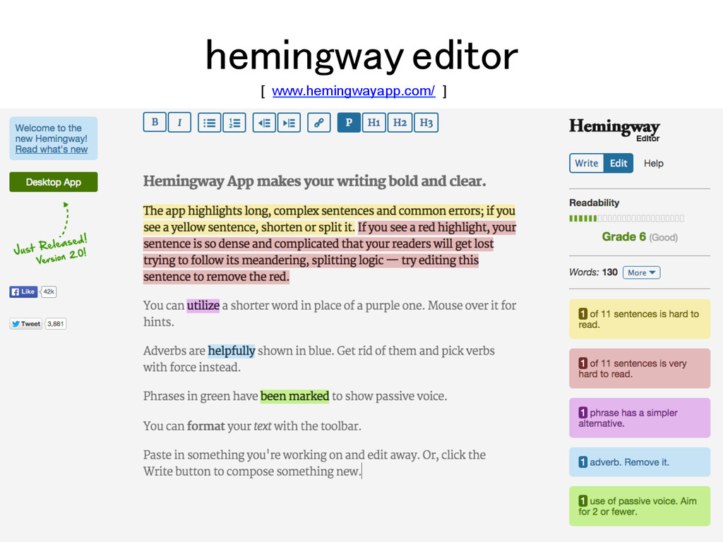 hemingway editor! [ www.hemingwayapp.com/ ]