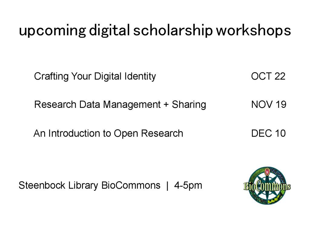 upcoming digital scholarship workshops! Craftin...