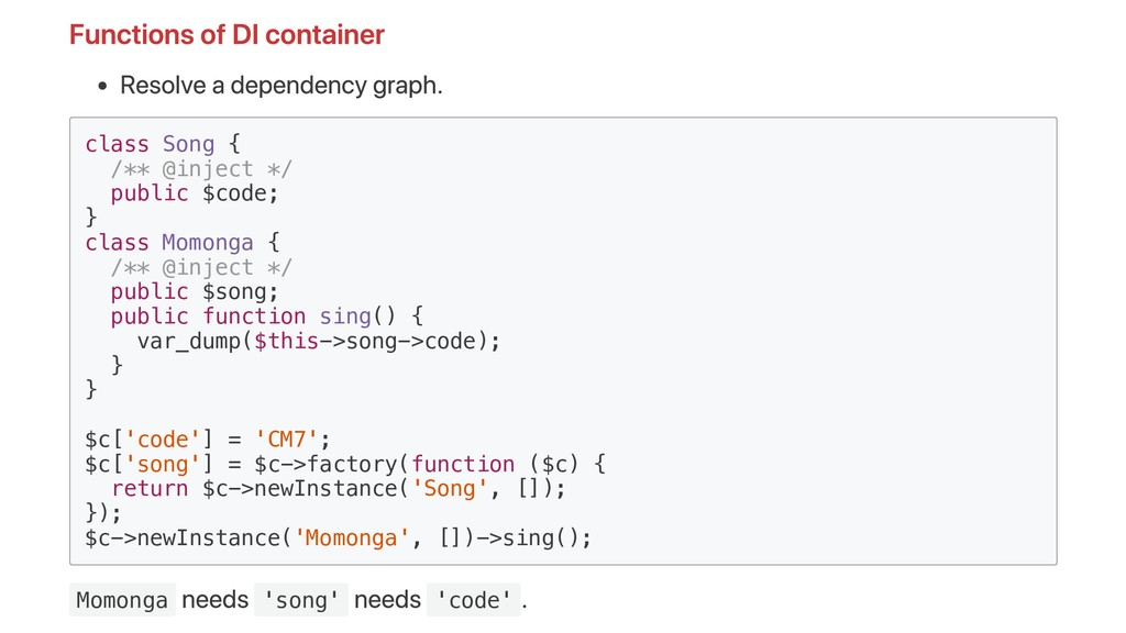 Functions of DI container Resolve a dependency ...