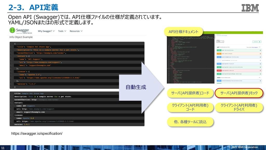 11 © 2021 IBM Corporation 2-3.API定義 Open API (S...