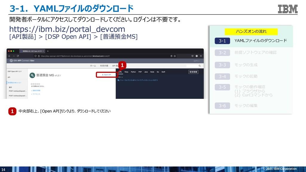 14 © 2021 IBM Corporation 3-1.YAMLファイルのダウンロード 開...