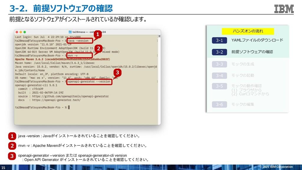 15 © 2021 IBM Corporation 3-2.前提ソフトウェアの確認 前提となる...