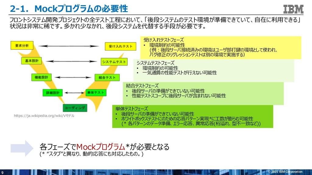 9 © 2021 IBM Corporation 2-1.Mockプログラムの必要性 フロント...